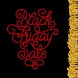 Carta di regalo della festa con la mano che segna vendita con lettere di Black Friday Immagine Stock Libera da Diritti
