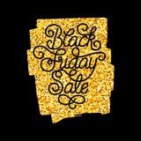 Carta di regalo della festa con la mano che segna vendita con lettere di Black Friday Fotografia Stock Libera da Diritti