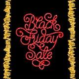 Carta di regalo della festa con la mano che segna vendita con lettere di Black Friday Fotografie Stock Libere da Diritti