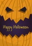 Carta di regalo della festa di Halloween con la lanterna di malvagità della zucca Fotografie Stock Libere da Diritti
