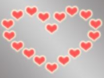 Carta di regalo di amore Giorno del `s del biglietto di S Cuore dai cuori su fondo grigio Fotografia Stock
