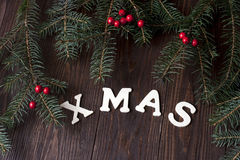 Carta di regalo di Natale con la composizione in festa Immagini Stock Libere da Diritti