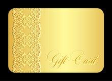 Carta di regalo dorata di lusso con imitazione di pizzo Fotografie Stock Libere da Diritti