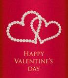 Carta di regalo rossa del biglietto di S. Valentino con i cuori intrecciati Immagine Stock Libera da Diritti