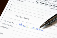 Carta di registrazione dell'hotel Fotografia Stock Libera da Diritti