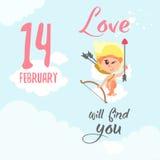 Carta di San Valentino con il cupido divertente che si siede sulla nuvola con l'arco e la freccia Immagine Stock Libera da Diritti