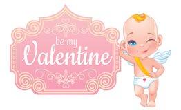 Carta di San Valentino con il piccolo cupido del bambino Fotografia Stock