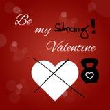 Carta di San Valentino con kettlebell Fotografia Stock Libera da Diritti