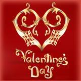 Carta di San Valentino con un'annata del cuore di oro Fotografia Stock
