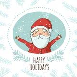 Carta di Santa Greeting di Natale Immagini Stock