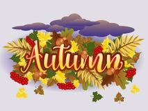 Carta di stagione di tempo di autunno, vettore Immagini Stock Libere da Diritti