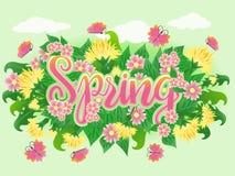 Carta di stagione di tempo di primavera, vettore Immagine Stock Libera da Diritti