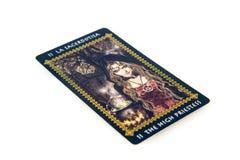 Carta di tarocchi l'alta sacerdotessa Piattaforma dei tarocchi di Favole Priorità bassa esoterica Immagini Stock