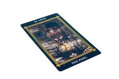 Carta di tarocchi lo sciocco Piattaforma dei tarocchi di Favole Priorità bassa esoterica Fotografie Stock