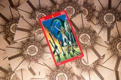Carta di tarocchi sei delle bacchette Piattaforma dei tarocchi del drago Priorità bassa esoterica Fotografie Stock Libere da Diritti