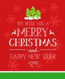 Carta di tipografia di Buon Natale illustrazione di stock
