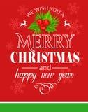 Carta di tipografia di Buon Natale illustrazione vettoriale
