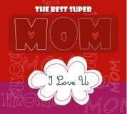 Carta di tipografia di giorno di madri/il più bene progettazione eccellente della mamma Immagine Stock