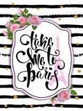 Carta di tipografia, maglietta, stampa della tazza Fondo di Parigi con lo slogan Fotografie Stock