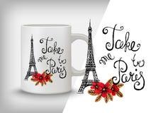 Carta di tipografia, maglietta, stampa della tazza Fondo di Parigi con lo slogan Fotografia Stock Libera da Diritti