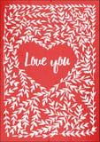 Carta di Valentin con l'iscrizione ti amo Fotografie Stock