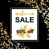 Carta di vendita di autunno dell'oro sul fondo dei coriandoli illustrazione di stock