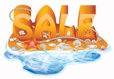 Carta di vendita di estate con le conchiglie e la corda Immagini Stock Libere da Diritti