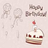 Carta di vettore con il dolce e i baloons Fotografia Stock