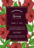 Carta di vettore del fiore dell'ibisco che estrae a mano Immagine Stock