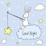 Carta di vettore della buona notte con coniglio sveglio Stampa di vettore Fotografia Stock Libera da Diritti