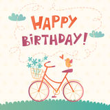 Carta di vettore di buon compleanno con una bicicletta Fotografia Stock