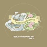 Carta di vettore di Giornata mondiale dell'ambiente Pensi che il verde vada verde Fotografie Stock