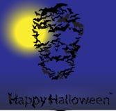 Carta di vettore di Halloween: forma del cranio dei pipistrelli Fotografia Stock