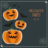Carta di vettore di saluto di Halloween Aletta di filatoio del partito di Halloween Insegna di Halloween con la zucca ed i pipist royalty illustrazione gratis