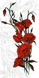 Carta disegnata a mano con i fiori rossi di eustoma Immagini Stock Libere da Diritti