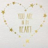 Carta disegnata a mano con il cuore della stagnola di oro Immagine Stock