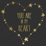 Carta disegnata a mano con il cuore della stagnola di oro Fotografia Stock Libera da Diritti