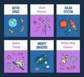 Carta disegnata a mano degli elementi del pianeta dello spazio di vettore illustrazione vettoriale