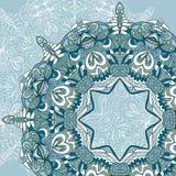Carta disegnata a mano dell'ornamento del pizzo del cerchio Modello rotondo ornamentale Immagini Stock
