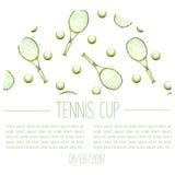 Carta disegnata a mano di annuncio della tazza di tennis dell'acquerello Fotografia Stock
