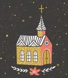 Carta disegnata a mano di vettore con il tempio cattolico ed il cielo stellato Progettazione della stampa di Natale illustrazione vettoriale