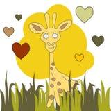 Carta disegnata a mano sveglia, cartolina con la giraffa, royalty illustrazione gratis