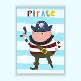 Carta disegnata a mano sveglia di vettore con il pirata divertente Modello stampabile Fotografia Stock