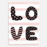Carta disegnata a mano sveglia di vettore di giorno del ` s del biglietto di S. Valentino della st Immagine Stock