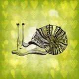 Carta divertente del biglietto di S. Valentino con la lumaca sorridente Fotografie Stock