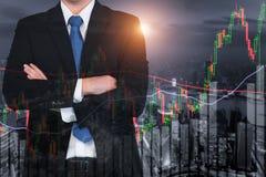 A carta do castiçal modela o uptrend, mercado de valores de ação em Shanghai cit Fotografia de Stock