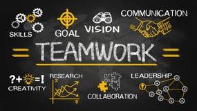 Carta do conceito dos trabalhos de equipa com elementos do negócio Fotografia de Stock Royalty Free