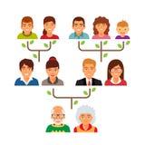 Carta do diagrama de árvore da árvore genealógica da família ilustração royalty free