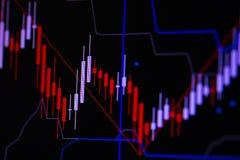 Carta do gráfico da vara da vela com o indicador que mostra o ponto com tendência para a alta ou o ponto bearish, acima da tendên fotografia de stock