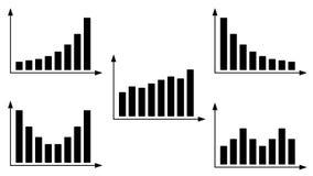 Carta do gráfico de barra ajustada com linha central das setas ilustração do vetor